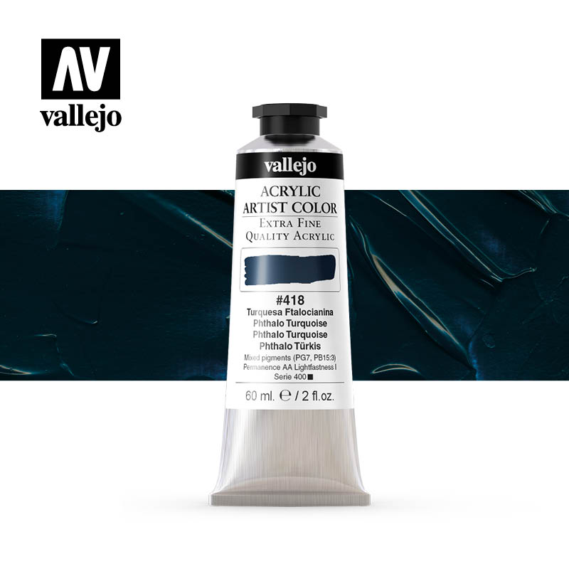 acrylic artist color vallejo phthalo turquoise 418 60ml