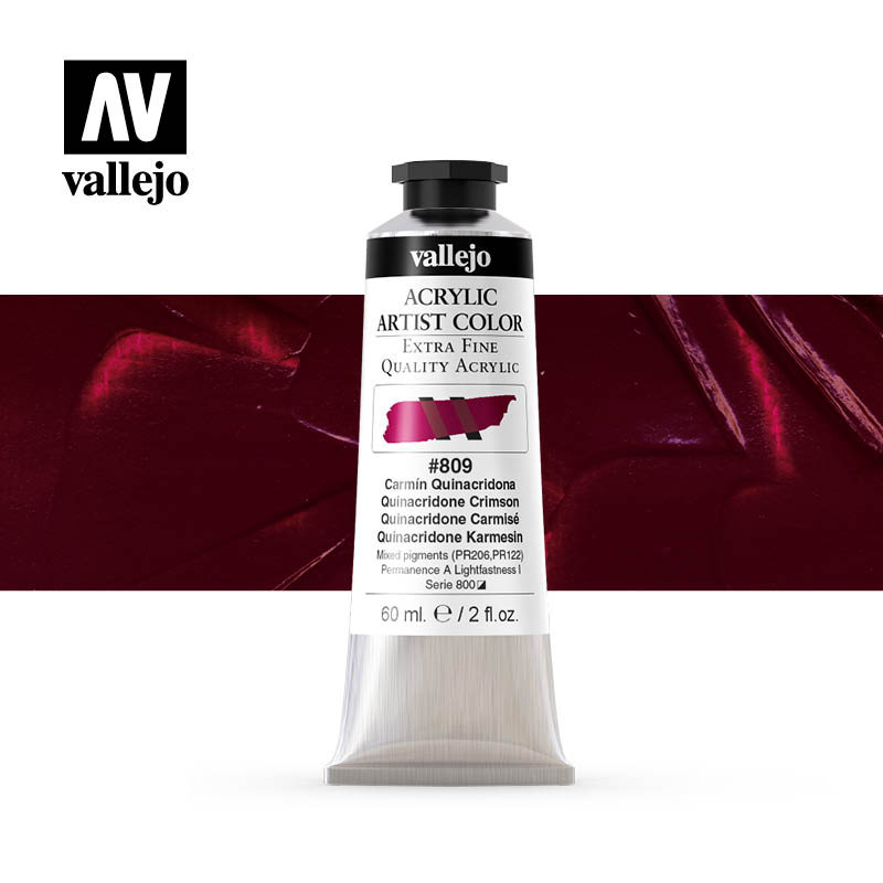 acrylic artist color vallejo quinacridone crimson 809 60ml