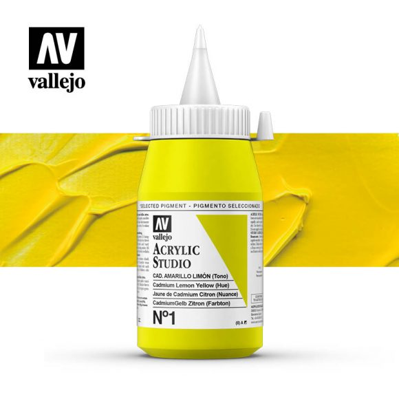 Vallejo Acrylic Studio Cadmium Lemon Yellow (Hue) 1