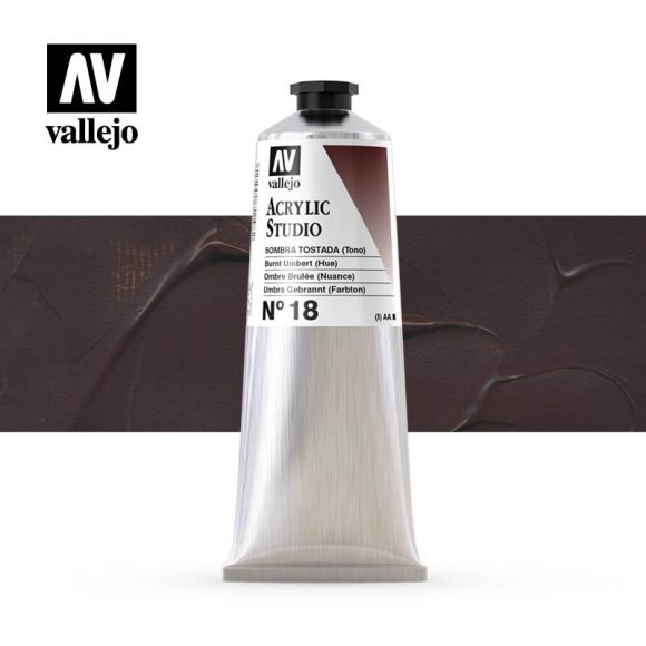 Vallejo Acrylic Studio Burnt Umber 18