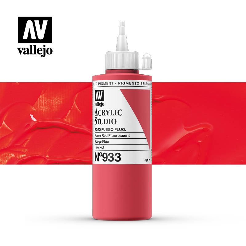 Vallejo Acrylic Studio Flame Red Fluorescent 933