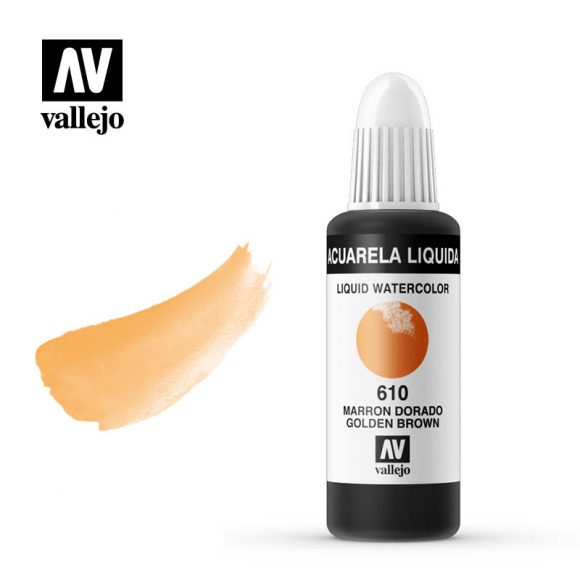 acuarela liquida vallejo golden brown 610