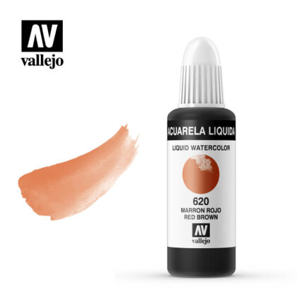acuarela liquida vallejo red brown 620