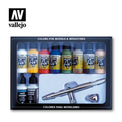 basic colors airbrush 71167 vallejo model air basic set