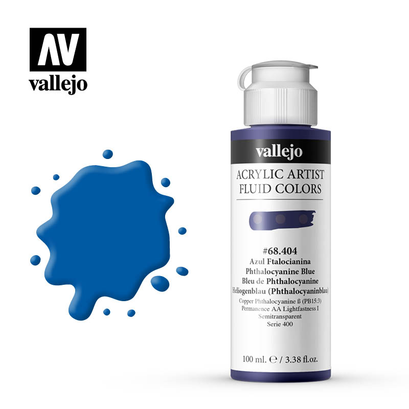 Fluid Acrylic Vallejo Phthalo Blue 68404 100ml