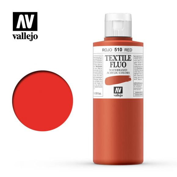 textile color vallejo fluorescentt red 510 200ml