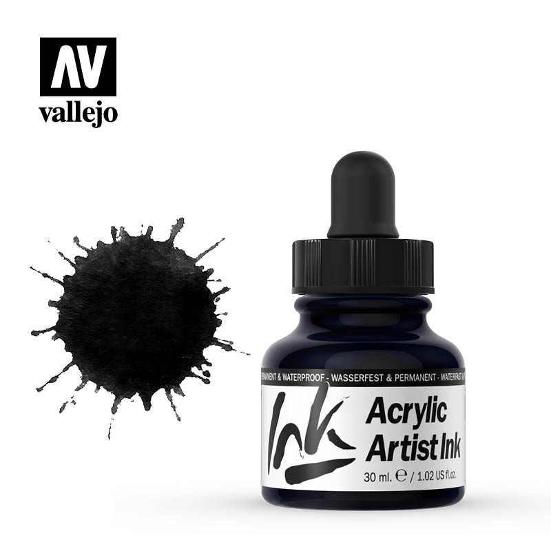 vallejo acrylic artist ink black 60019