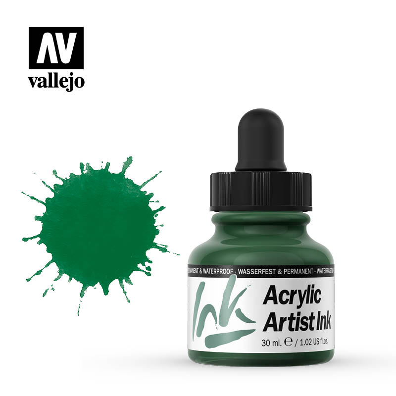 vallejo acrylic artist ink dark green 60013