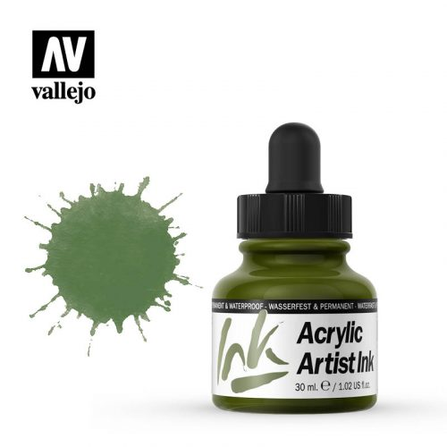 vallejo acrylic artist ink green 60012