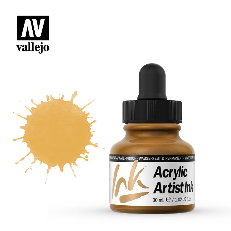 vallejo acrylic artist ink indian yellow 60015