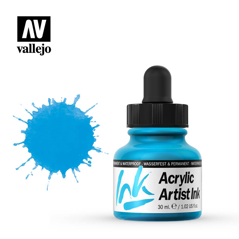 vallejo acrylic artist ink light blue 60010