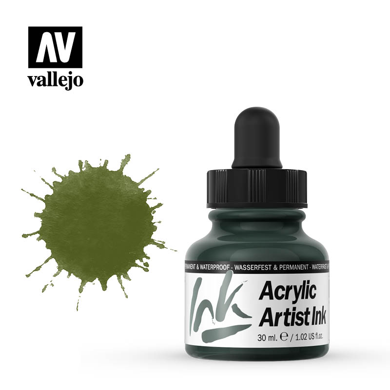 vallejo acrylic artist ink olive green 60014