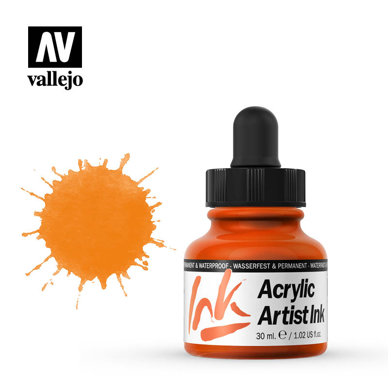 vallejo acrylic artist ink orange 60003