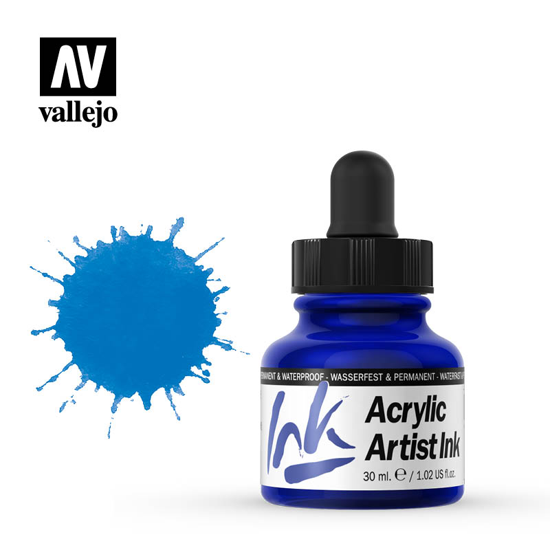 vallejo acrylic artist ink primary blue 60009