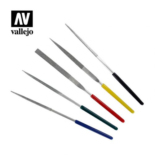 vallejo hobby tools set of 5 mini diamond files T03004