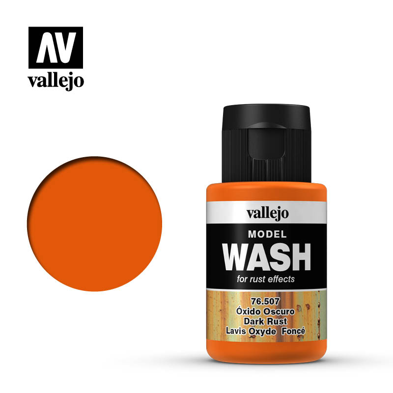 vallejo model wash dark rust 76507