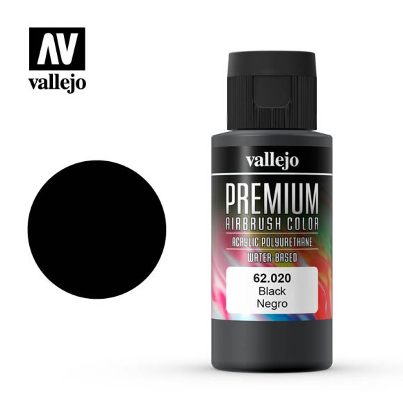 Premium Airbrush Color Vallejo Black 62020