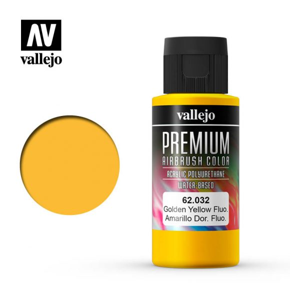 Premium Airbrush Color Vallejo Golden Yellow Fluorescent 62032