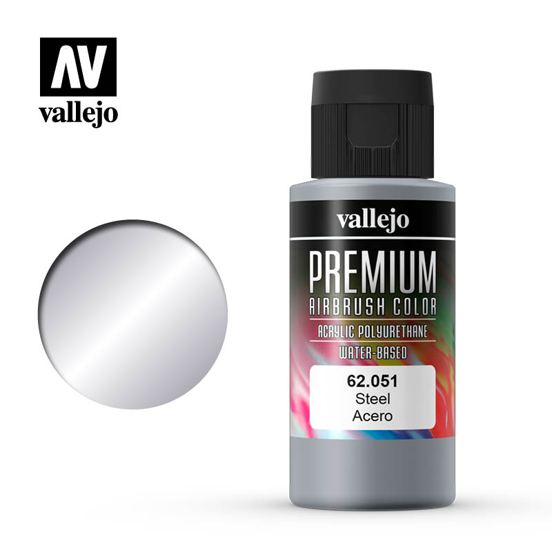 Premium Airbrush Color Vallejo Steel 62051