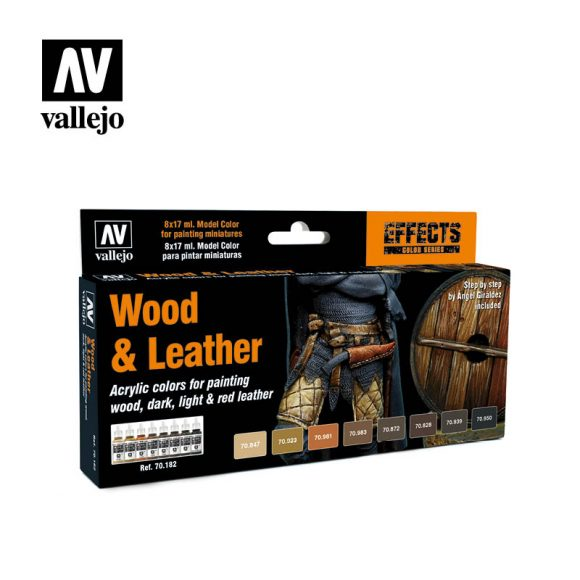 Wood and leather 70182 vallejo model color effects set