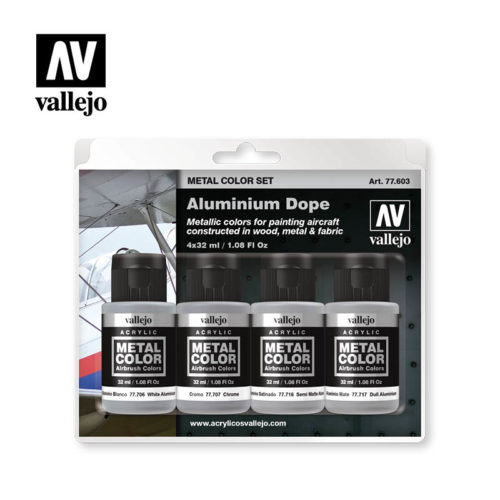 Vallejo Metal Color Aluminium Dope Set 77603
