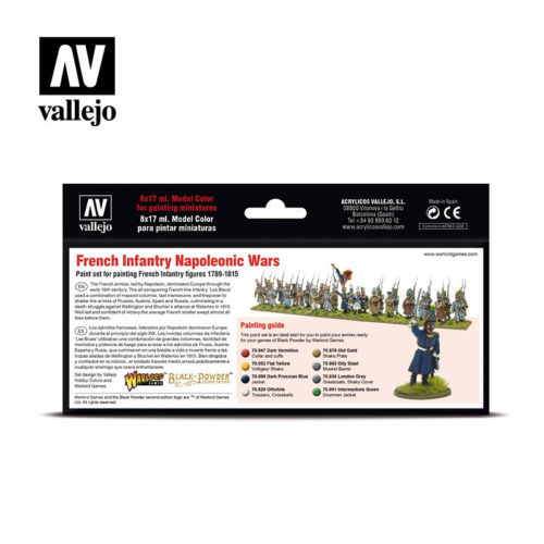 Vallejo Wargames French Infantry Napoleonic Wars 70164 Back
