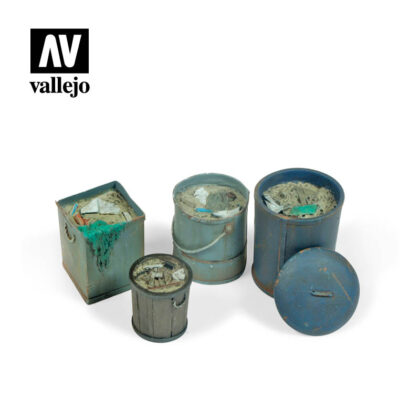 Diorama Accessories Vallejo Scenics Assorted Garbage Bins (#2) SC213