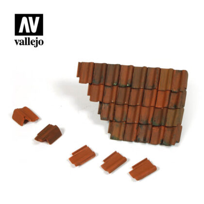 Diorama Accessories Vallejo Scenics Damaged Roof Section Tiles SC230