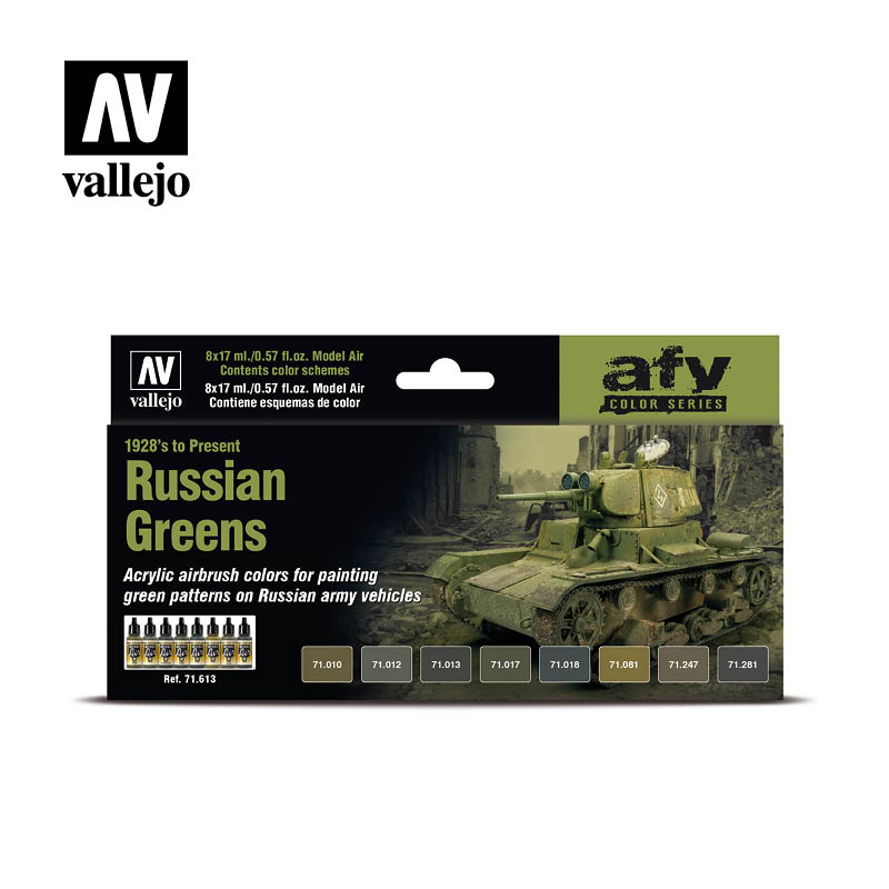 Vallejo AFV series is a collection of sets for painting armored vehicles