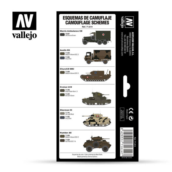 WWII British Colors UK/BEF/Europe 1939-1945 Vallejo AFV 71.614 Back