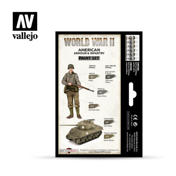 WWII Paint Set American Armour & Infantry Vallejo Wargames Flames of War 70.203 Back