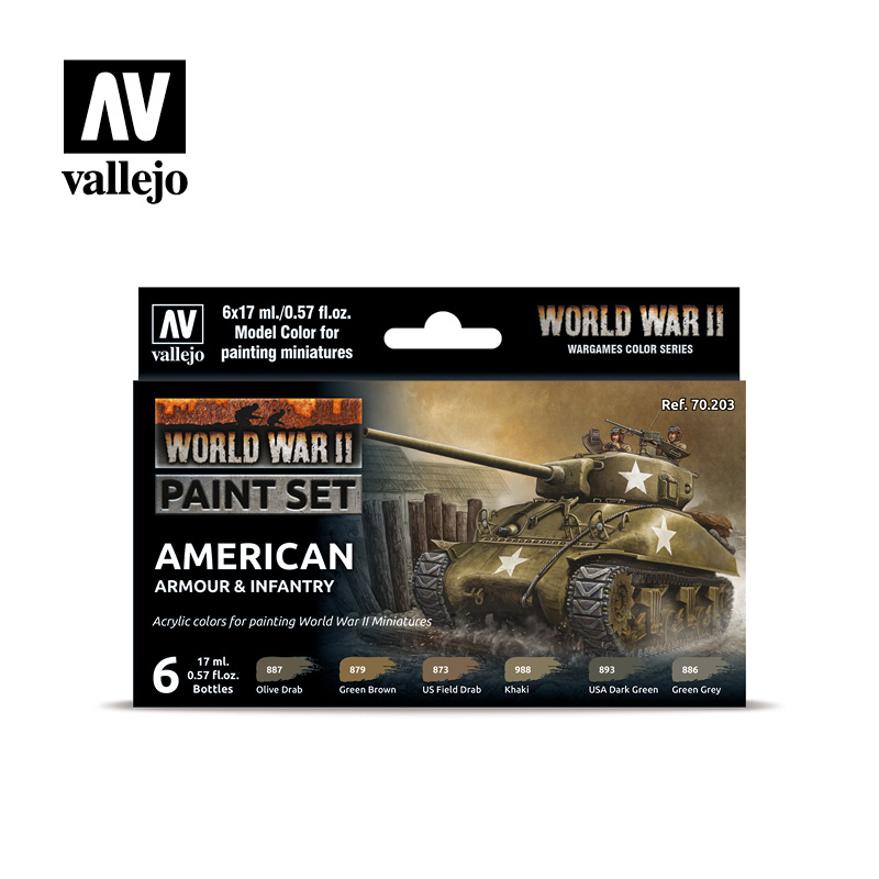 WWII Paint Set American Armour & Infantry Vallejo Wargames Flames of War 70.203 Front