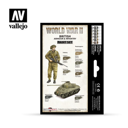 WWII Paint Set British Armour & Infantry Vallejo Wargames Flames of War 70.204 Back