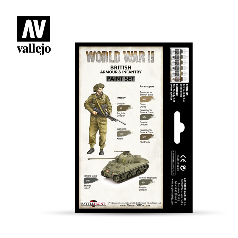 WWII British Armour & Infantry  Flames of War paint sets by