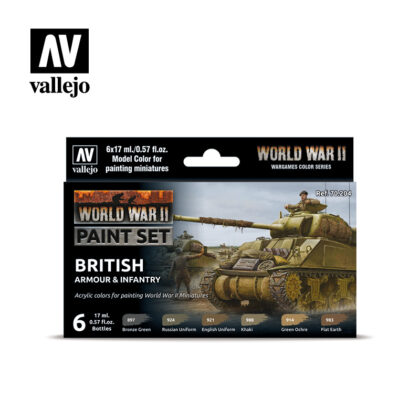 WWII Paint Set British Armour & Infantry Vallejo Wargames Flames of War 70.204 Front