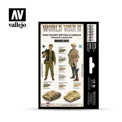 WWII Paint Set Desert British & German Armour & Infantry Vallejo Wargames Flames of War 70.208 Back