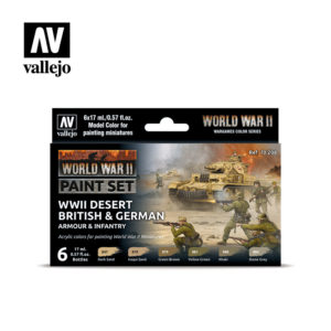 WWII Paint Set Desert British & German Armour & Infantry Vallejo Wargames Flames of War 70.208 Front