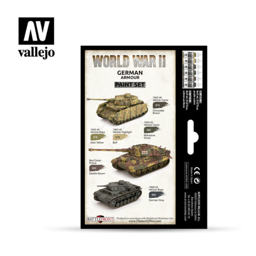 WWII Paint Set German Armour Vallejo Wargames Flames of War 70.205 Back