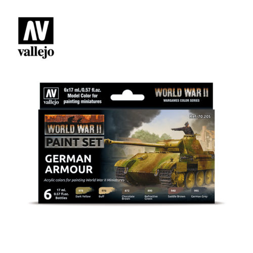 WWII Paint Set German Armour Vallejo Wargames Flames of War 70.205 Front
