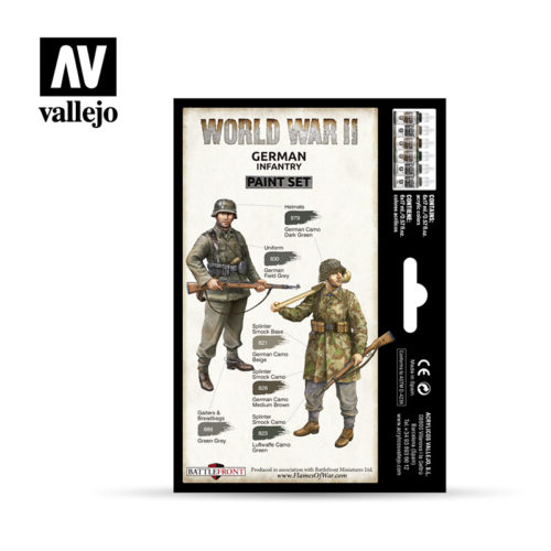 WWII Paint Set German Infantry Vallejo Wargames Flames of War 70.206 Back