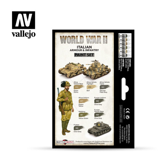 WWII Paint Set Italian Armour & Infantry Vallejo Wargames Flames of War 70.209 Back