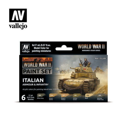 WWII Paint Set Italian Armour & Infantry Vallejo Wargames Flames of War 70.209 Front