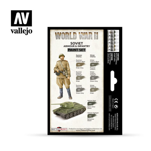 WWII Paint Set Soviet Armour & Infantry Vallejo Wargames Flames of War 70.202 Back