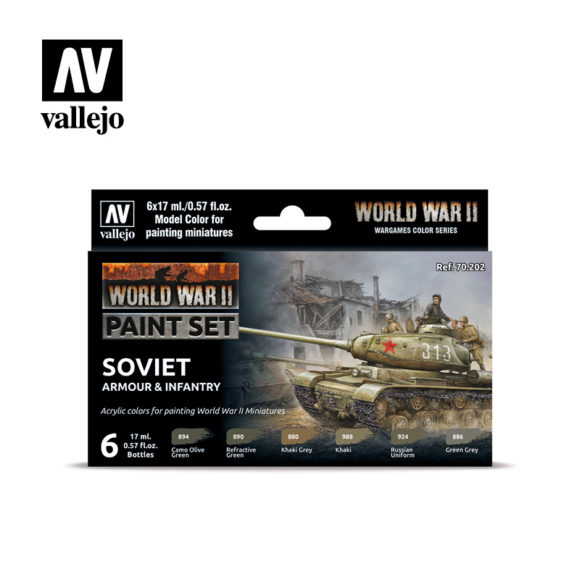 WWII Paint Set Soviet Armour & Infantry Vallejo Wargames Flames of War 70.202 Front