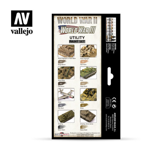 Utility Paint Set WWII & WWIII Vallejo Wargames Flames of War 70.201 Back