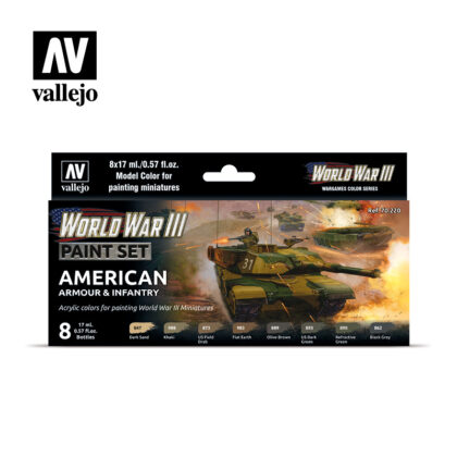 WWIII Paint Set American Armour & Infantry Vallejo Wargames Flames of War 70.220 Front