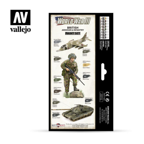 WWIII Paint Set British Armour & Infantry Vallejo Wargames Flames of War 70.222 Back