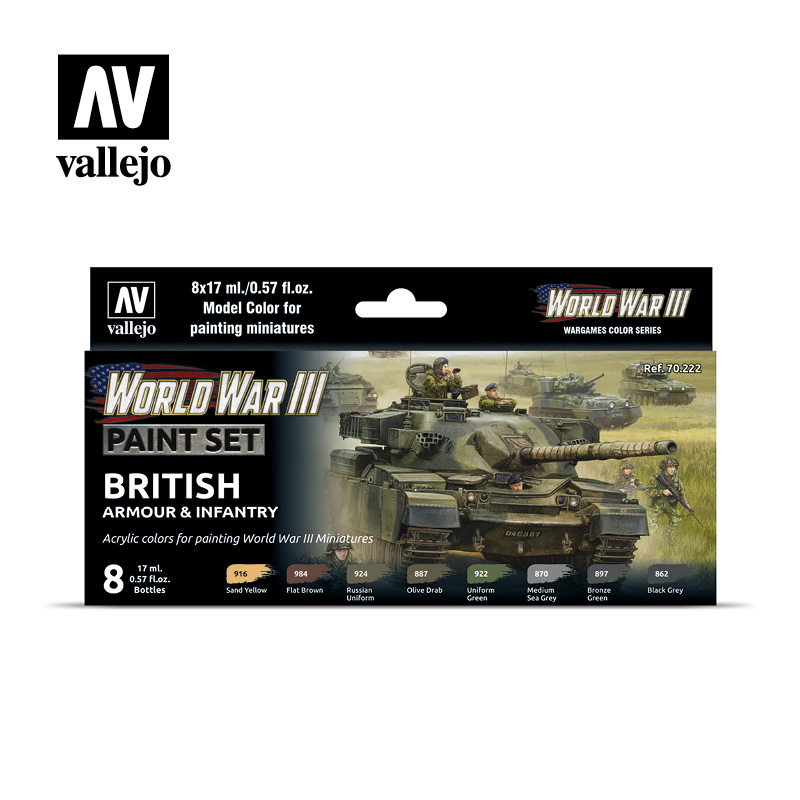 WWIII Paint Set British Armour & Infantry Vallejo Wargames Flames of War 70.222 Front