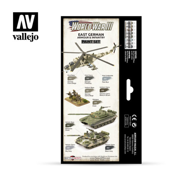 WWIII Paint Set East German Armour & Infantry Vallejo Wargames Flames of War 70.224 Back