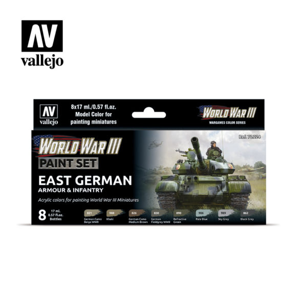 WWIII Paint Set East German Armour & Infantry Vallejo Wargames Flames of War 70.224 Front
